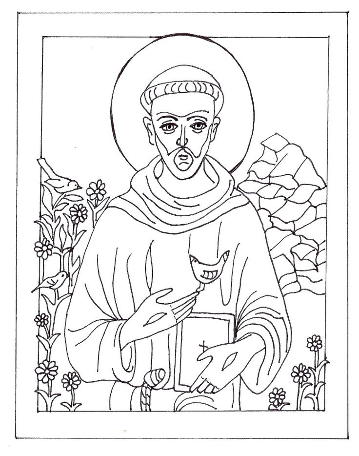 St. Francis of Assisi - Coloring page in honor of his feast day October 4th