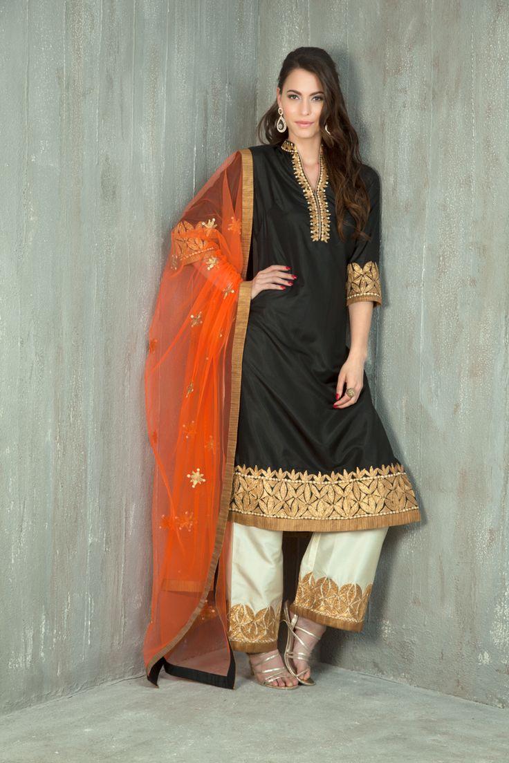Silk kurta with straight pants embellished with gota pati work. Item number W15-21