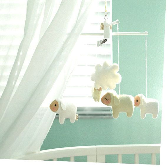 Musical Baby Mobile COUNTING SHEEP, Handcrafted Hanging Wool Felt Mobile for Baby Crib, Playroom or Nursery decor, Farm Theme Baby Mobile on Etsy, $130.00