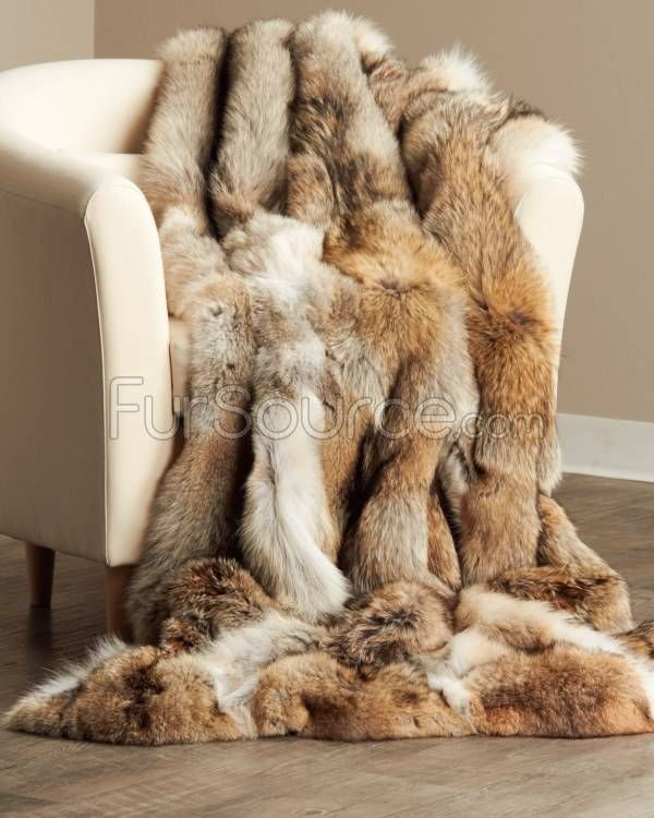 Full Pelt Coyote Fur Blanket / Fur Throw