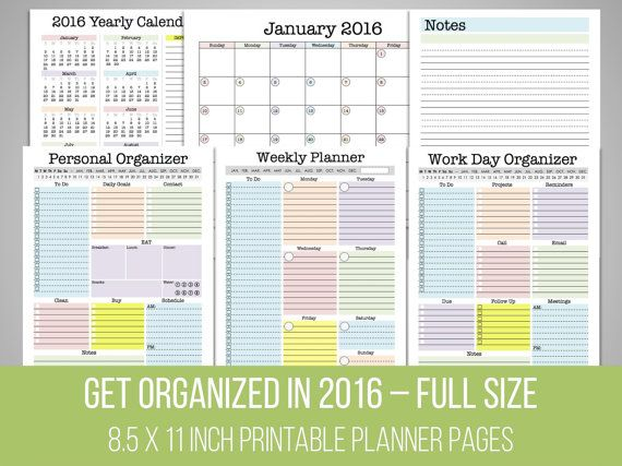 2016 Planner  Get Organized Set  Printable by FreshandOrganized