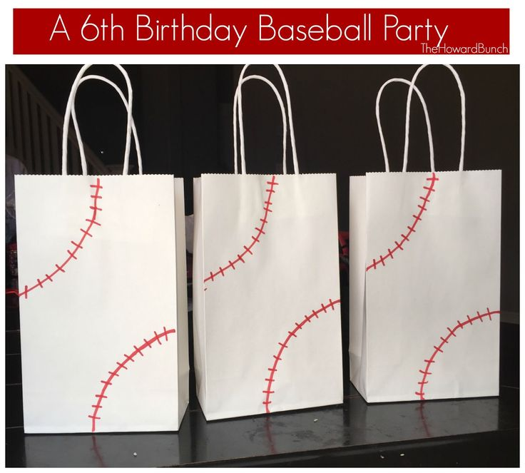 A Baseball Themed Sixth Birthday - Treat Bags. Gift Bags.