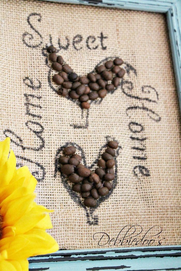 burlap art | Burlap art work with coffee beans - Debbiedoo's
