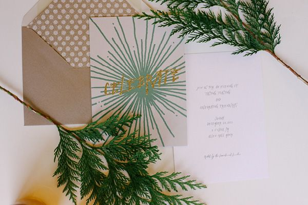 emerald and gold holiday invitations
