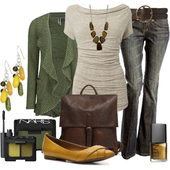Trouser style pants/jeans, long shirt and sweater. Necklace and shoe make the difference between at home and work.