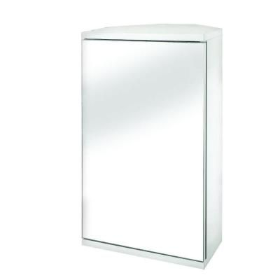 Croydex Simplicity 11 7 8 In W X 19 H 9 2 5 D Framed Surface Mount Corner Bathroom Medicine Cabinet White