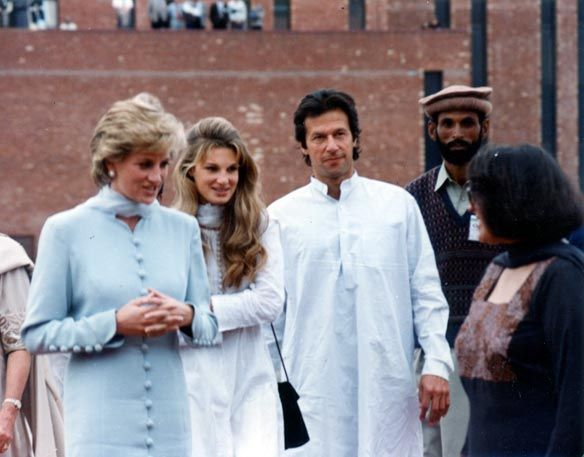 Princess Diana, Imran Khan and his wife Jemima Goldsmith Khan (good friend of Lady Diana) seen in Lahore at the Shaukat Khanum Memorial Cancer Hospital. Built in the loving memory Imran Khan's late mother Shaukat Khanum - Pakistan