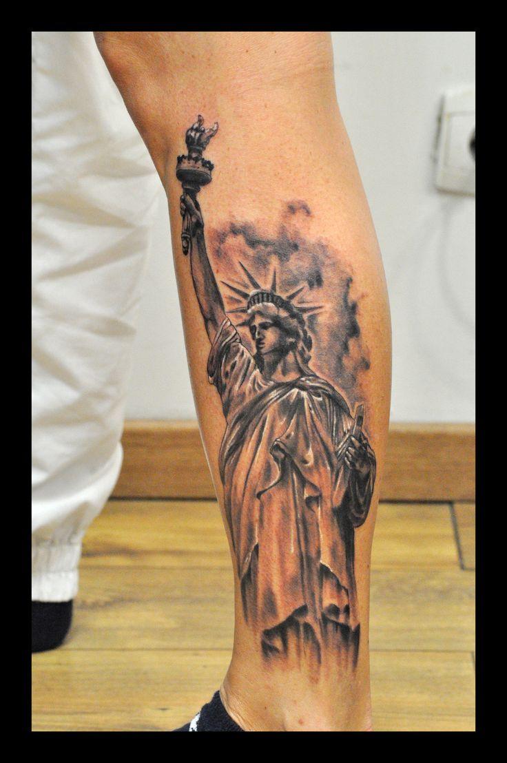 statue libert black grey realistic mollet women tattoo tatouage denis dechaine blackblood. Black Bedroom Furniture Sets. Home Design Ideas
