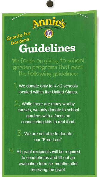 Grant Application. Get a school garden from Annie's! I don't have a school to apply for, but I'm passing it on for those of you who do ;) ends December 15!