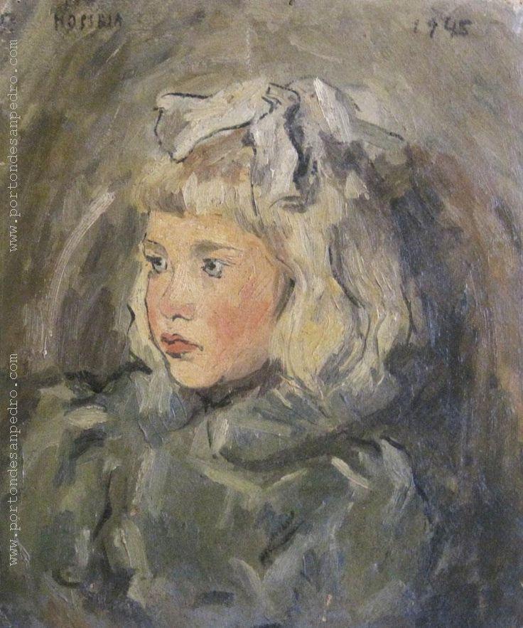"""María Olga Piria """"La niña de la moña"""" Óleo sobre cartón 40 x 33 cm. Año 1945 Firmado y fechado arriba a la izquierda http://www.portondesanpedro.com/ver-producto.php?id=12474"""