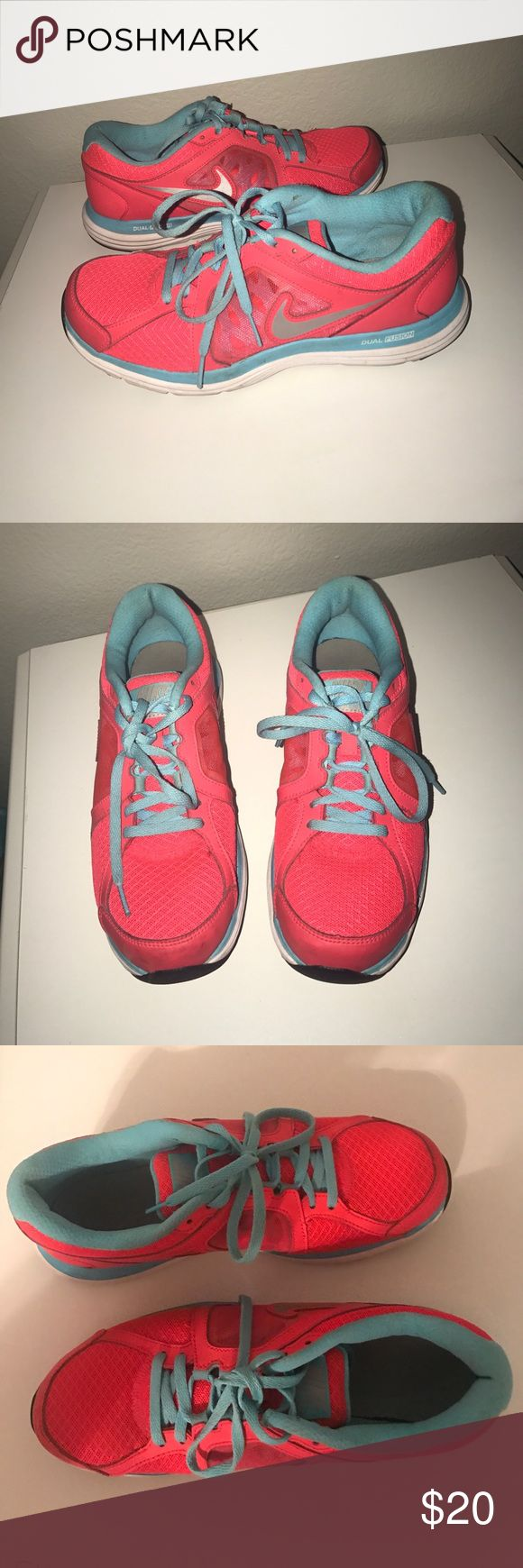 Nike Dual Fusion Coral and Blue Nike Dual fusion gently used. Size 9. Nike Shoes Athletic Shoes
