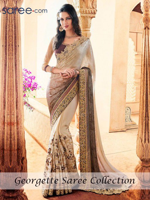 BROWN AND CREAM CREPE SAREE WITH EMBROIDERY WORK