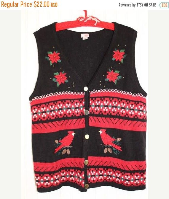 sale ugly christmas sweater vest black tacky sweater red poinsettias cardinals size xl