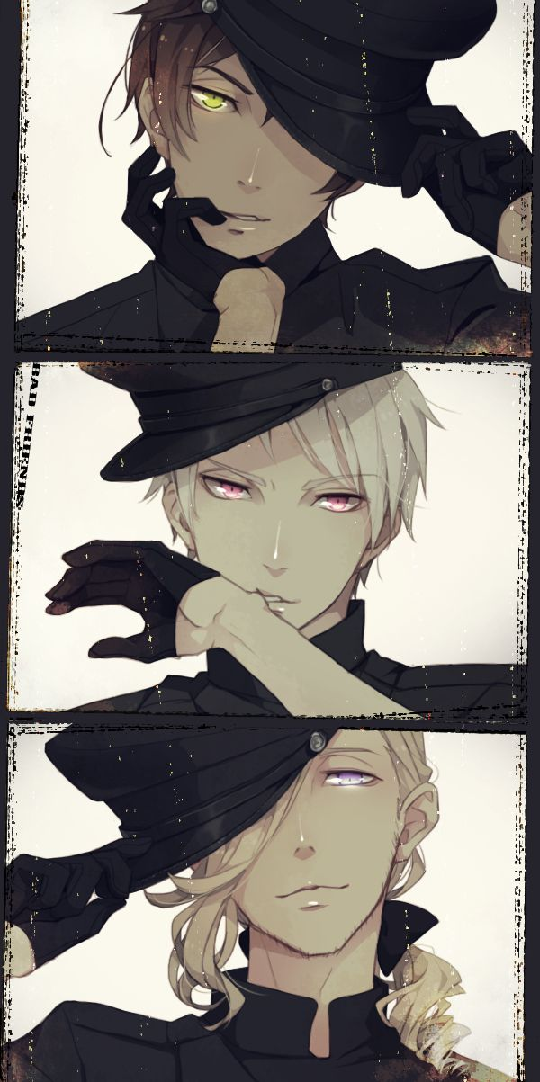 Spain, Prussia, and France ❤ Eeee the Bad Touch Trio! France looks so cool in this one! Loving his hair~