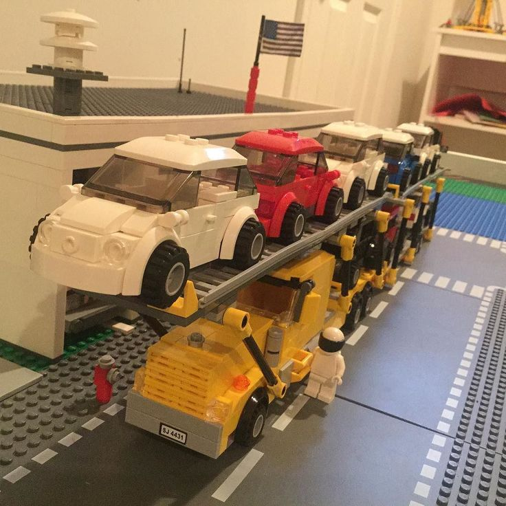 Ok here's the PeterBilt Car Hauler. Driven by None other than the Stig. Right now it holds 5 2015 VW Beetles 3 2013 Subarus and a 2014 Smart Car. by oceanbrickfire