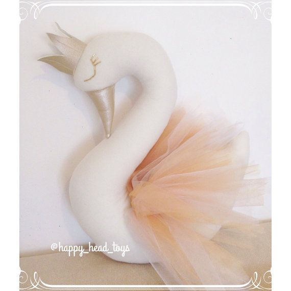 Swan bust swan pillow faux taxidermy decorative от HappyHeadToys