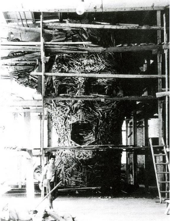 """Каркас-опалубка головы монумента """"Родина-мать зовёт!"""". Сталинград. СССР, 1959 год"""