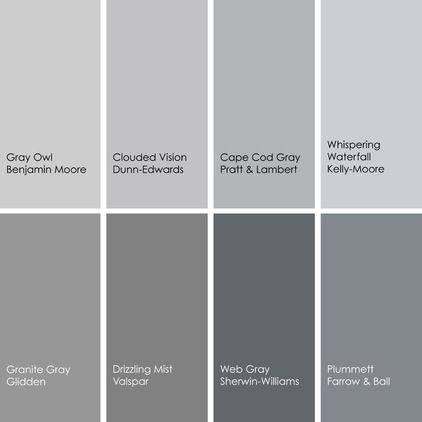 Gray paint picks for dining rooms (clockwise from top left):  1. Gray Owl 2137-60, Benjamin Moore 2. Clouded Vision DE6380, Dunn-Edwards 3. ...