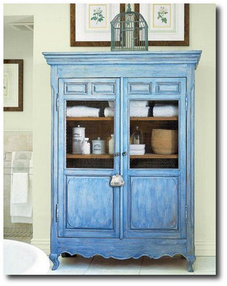 French Blue Bathroom Cabinet  Country Painting, Low VOC Paint, Chalk Paint,  Milk