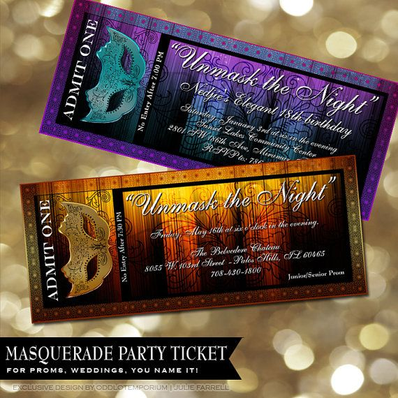 Movie Masquerade Prom Ticket Wedding, birthday, anniversary, sweet 16, Reception, Party Tickets invitations invites Custom Colors Available