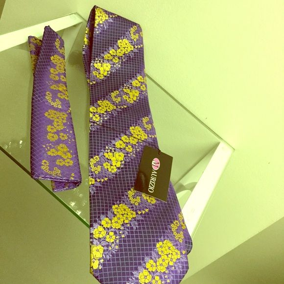 Tie and pocket square New and never worn purple and gold pocket square Accessories