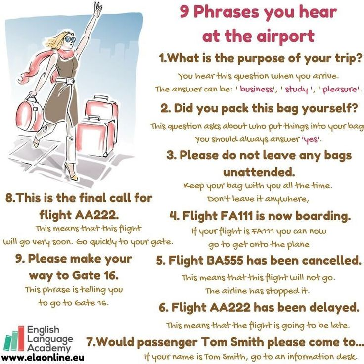 9 Phrases you hear at the airport # English# study# phrases# vocabulary# airport