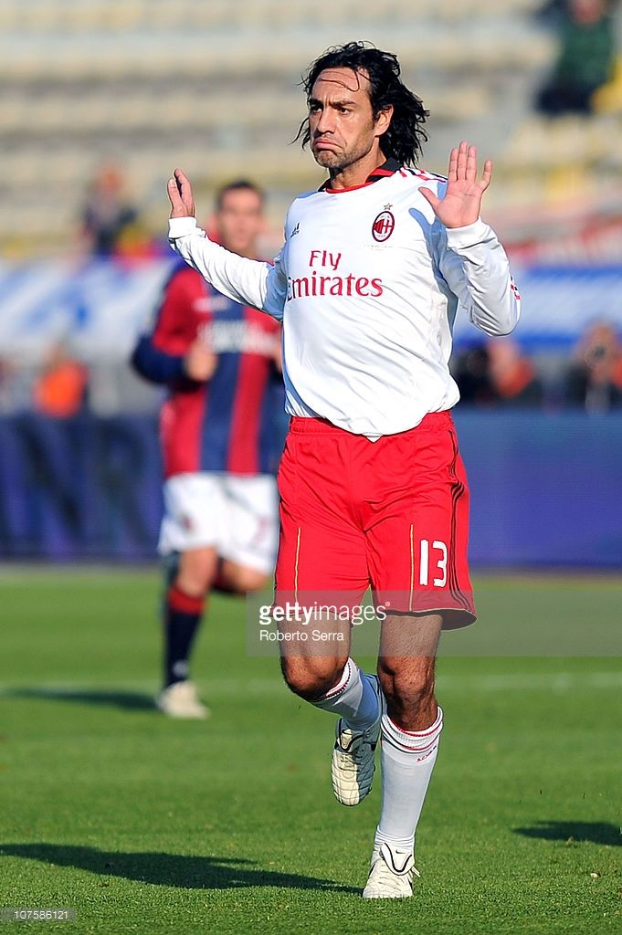 Alessandro Nesta of Milan gestures during the Serie A match between Bologna and AC Milan at Stadio Renato Dall'Ara on December 12, 2010 in Bologna, Italy.