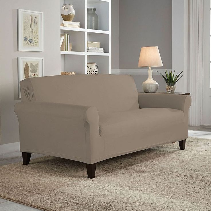 Serta Reversible Stretch Suede Loveseat Slipcover, Brown