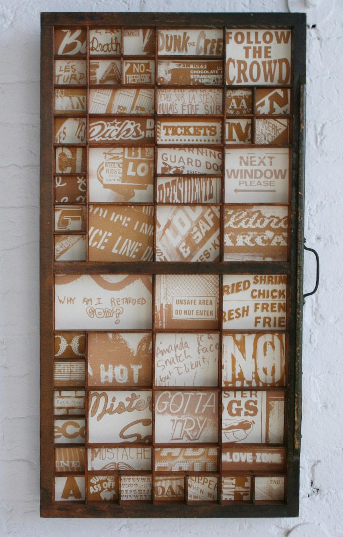 Wall art out of an old printers drawer, beautiful!  I have one!