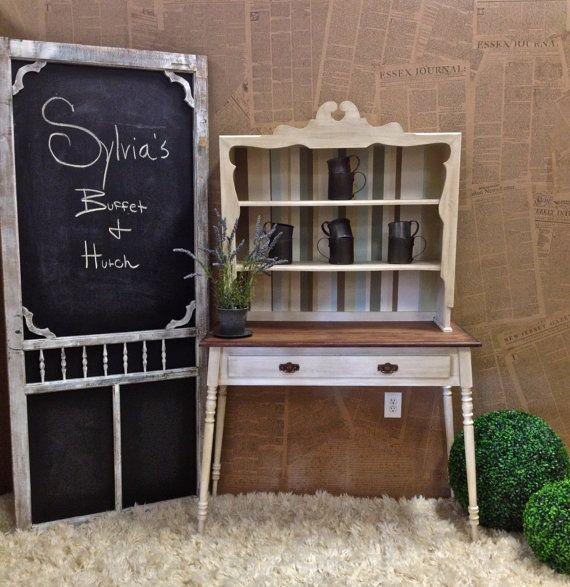 SALE Vintage Cabinet Buffett & Hutch Console In A by DesignWithUs, $968.00