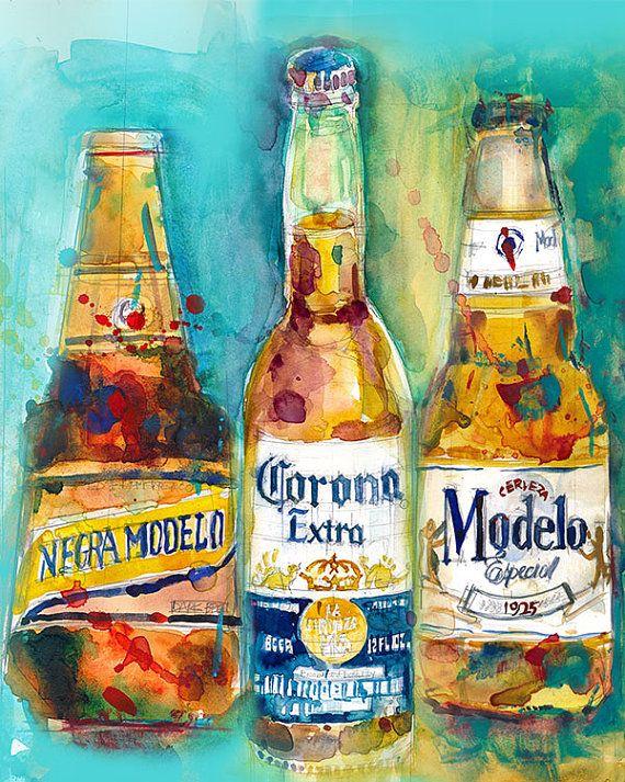 Mexican Beer  Negra Modelo  Corona  Modelo Print Size by dfrdesign
