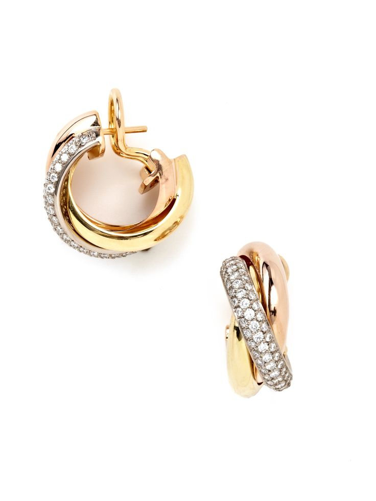 Cartier Trinity Diamond Hoop Earrings by Cartier at Gilt