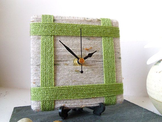 Unique Wool Desk Clock / Small Wall Clock Beige by NaturalClocks, £10.00 perfect gift for a knitter, crocheter, or other fiber enthusiast!  Handmade in England.