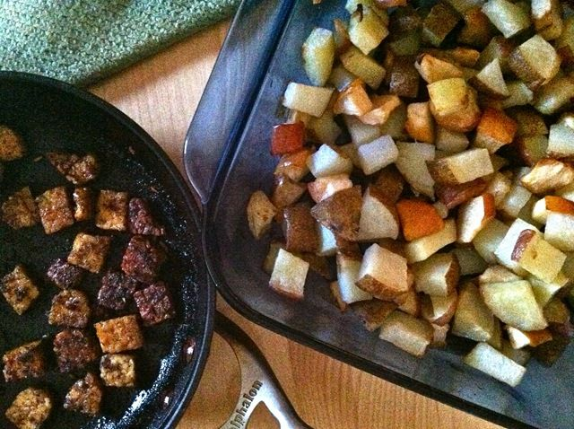 Apple and Potato Hash with Blackened Tempeh - Sub in Chicken?