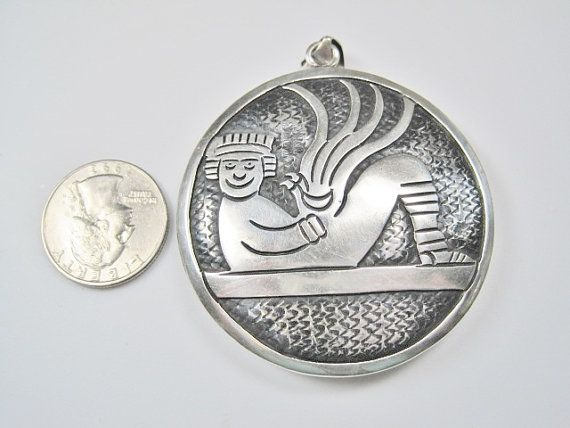 HUGE Vintage Aztec Cipactli Chacmool Pendant by BejeweledEmporium, $300.00