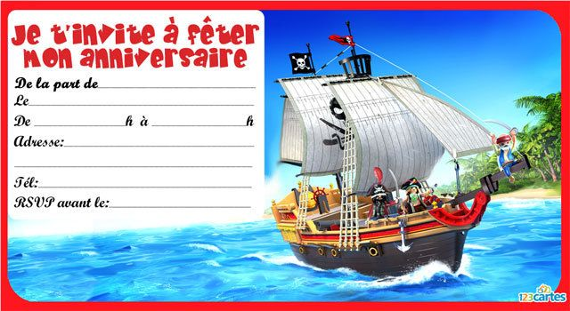 Invitation anniversaire playmobil pirates 1