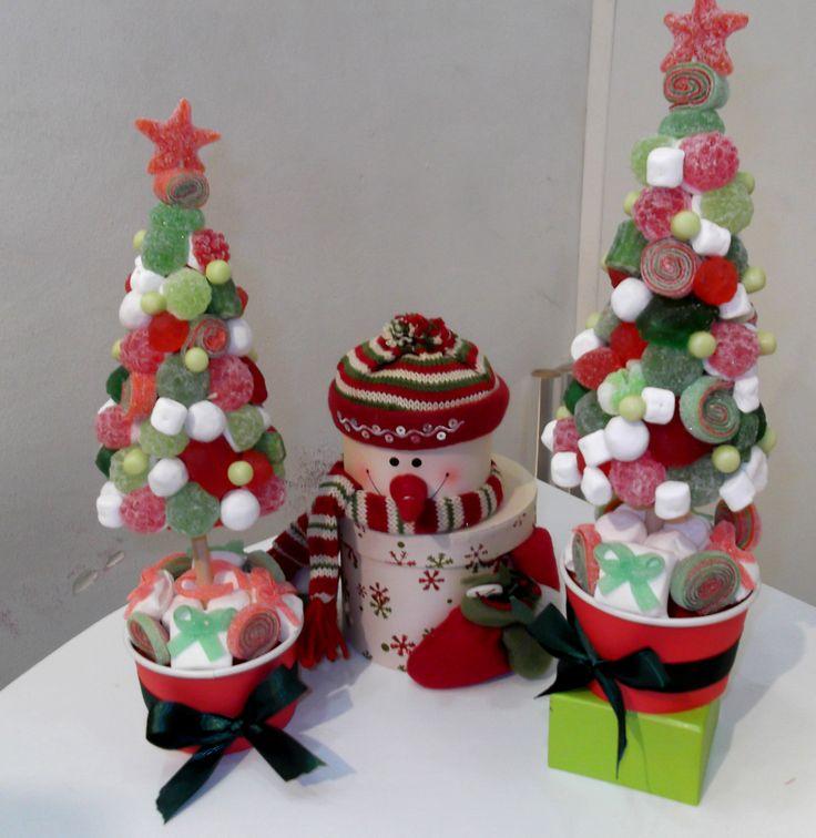 Arbolitos de chuches regalos navide os pinterest - Centros de mesa navidenos hechos a mano ...