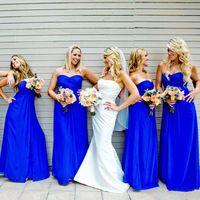 НЬЮ-Лонг Королевский Синий Невесты Платья Формальные Милая Шифон Плиссированные Назад Молния Длина Пола Vestidos Де Феста