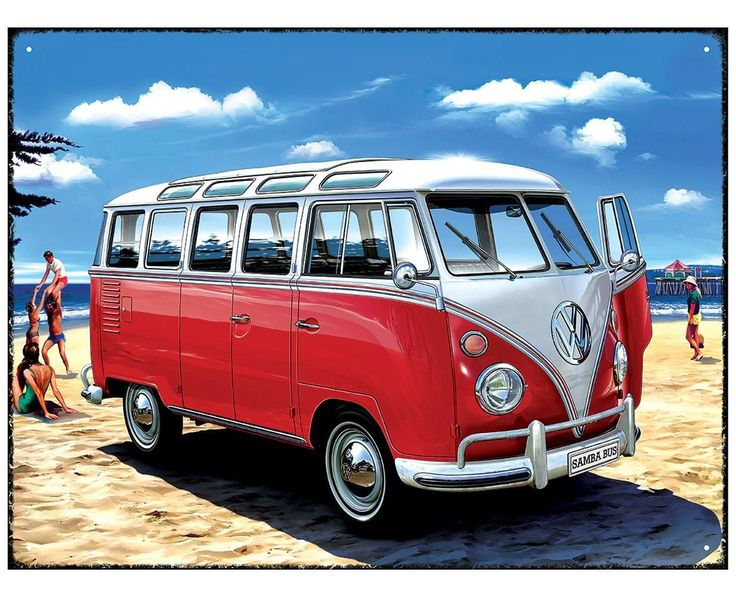 Metal Wall Sign – VW Samba Bus Beach Design & appeal: An official licenced Volkswagen product, created in-house by Red Hot Lemon by courtesy of the artist. We are lucky enough for the creator of this