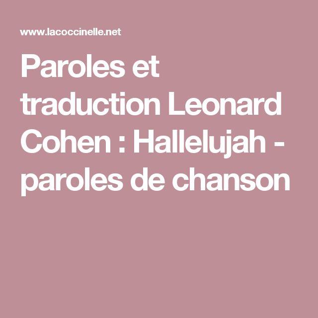 Paroles et traduction Leonard Cohen : Hallelujah - paroles de chanson