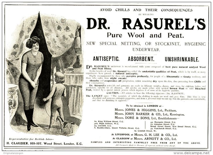 Original - Anzeige / Advertise 1903 : (ENGLISH) DR. RASUREL'S PURE WOOL AND PEAT -   260 x 170 mm