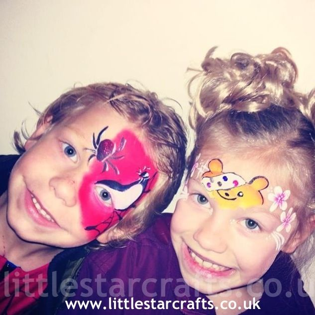 Children in need Charity  face paint Pudsey bear  Spider-Man  www.littlestarcrafts.co.uk