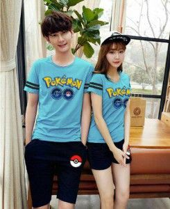 Kaos Couple Setelan Pokemon Go MTFA10 biru muda