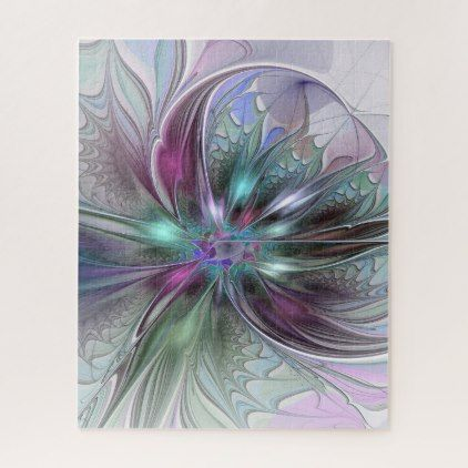 Colorful Fantasy Abstract Modern Fractal Flower Jigsaw Puzzle - flowers floral flower design unique style