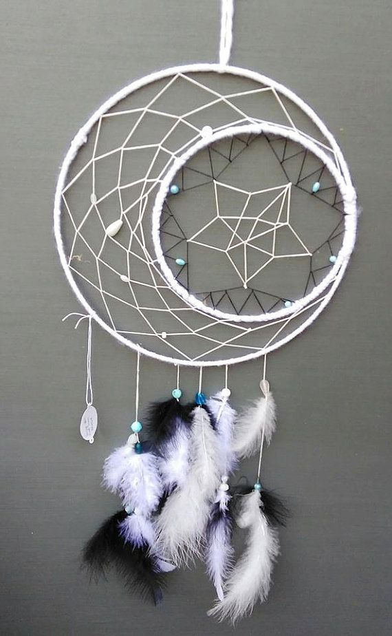 Star and Moon dream catcher by beadstobones on Etsy