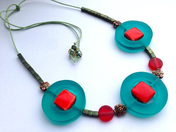 SALE  Teal resin necklace  Red and teal resin by Deliciousbits