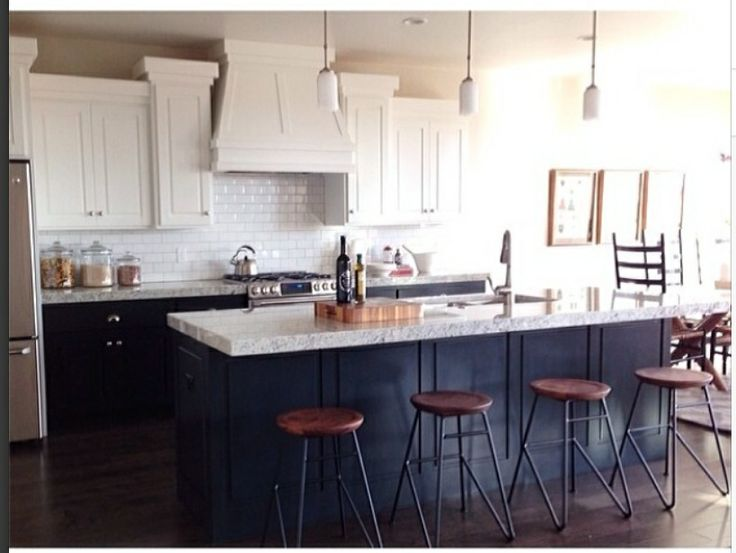 two toned kitchen cabinets. LOVE the navy and white. Lighting choice... not so in love.