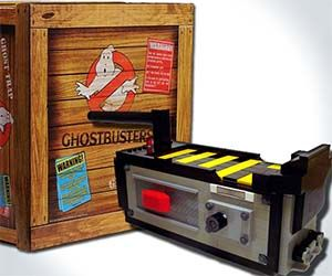 Ghostbusters trap replica. This well-crafted prop comes with an actual working trap door and features a fun interactive mode containing movie-accurate sounds and lighting effects.