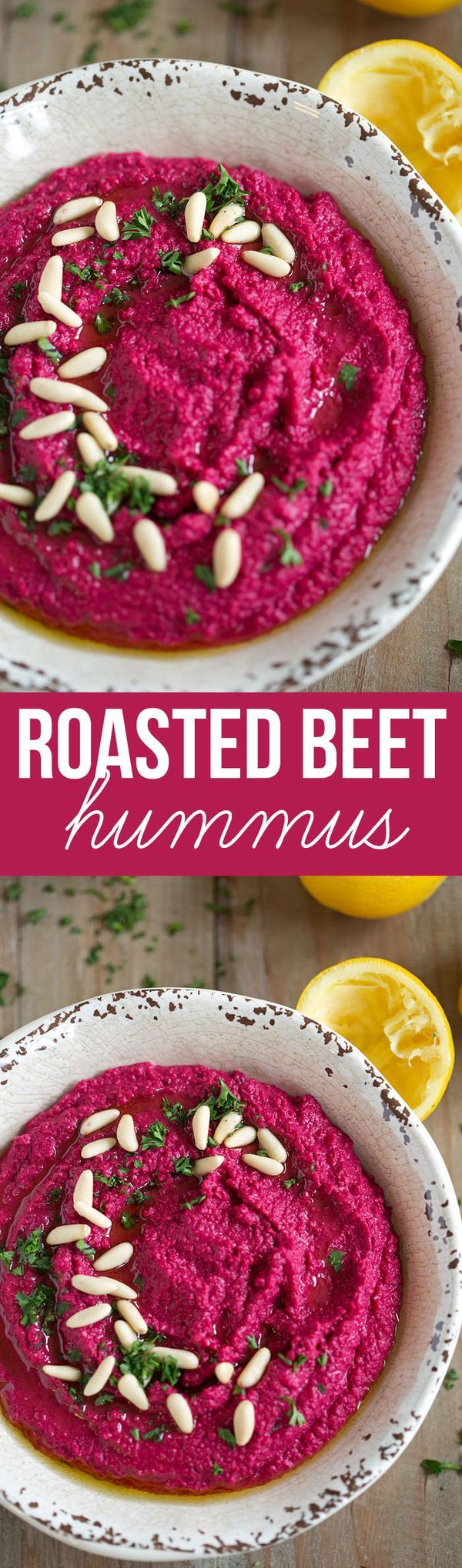 This recipe for Creamy Roasted Beet Hummus is gluten-free, dairy-free, vegan and a FAVORITE in our house! eat-yourself-skinny.com