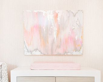 Ready to SHIP Abstract Art Large Canvas Painting Gray Peach